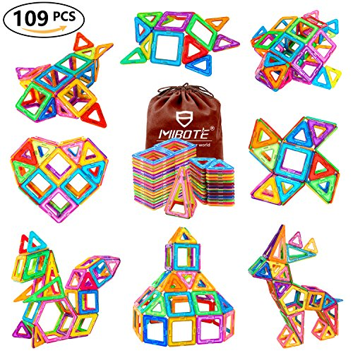 MIBOTE 109Pcs Magnetic Building Blocks Toys Educational Magnetic Tiles Set for Boys/Girls, Stacking Blocks for Toddler/Kids - All of Them are Strong - Blocks Childrens Toys