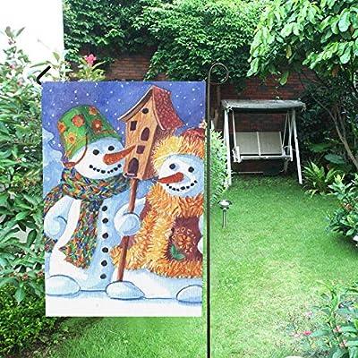 Decorativo para el hogar al aire libre Doble cara Amorosa familia Muñecos de nieve Casa de pájaros Muñeco de nieve Bandera de jardín, bandera de patio de casa, decoraciones de patio de