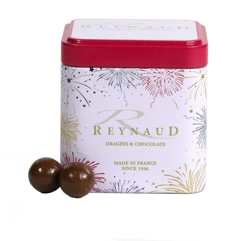 Reynaud, Caramel & Milk Chocolate Covered Crispy Cereals, 100g Gift Tin by Dragee Reynaud