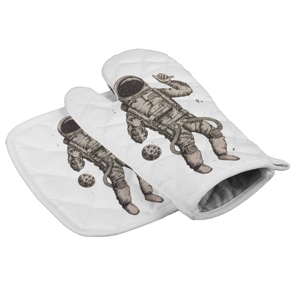 LijiahuaMitts Astronaut Hanging Loose in Space Heat Resistant Oven Mitts and Pot Holders,Safe Kitchen Cooking Baking Grilling