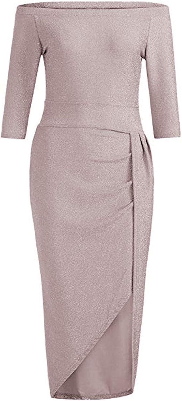 IWEMEK Damen Schulterfreies Glitzer Kleid Abendkleid Partykleid
