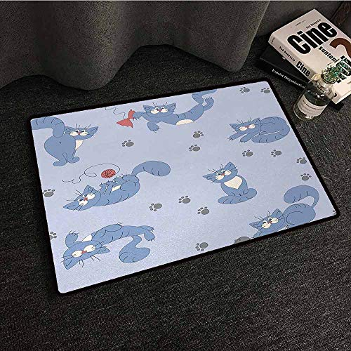 Outdoor Floor Mats Boys,Playful Cat in Funny Poses with Bowtie Ball of Yarn and a Mouse Grey Paw Prints,Blue Purple Grey,W35 xL47 Outdoor Rugs