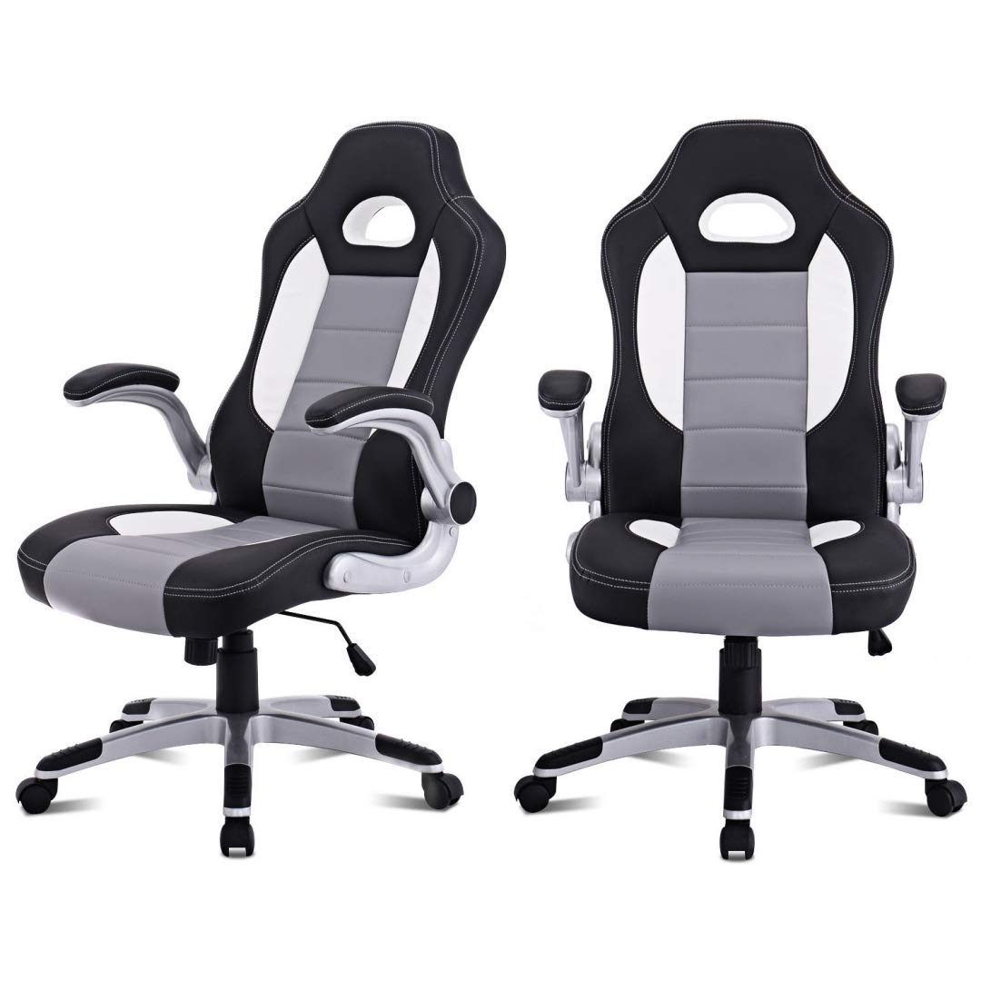 Modern Executive High Back Racing Style Gaming Chairs 360-degree Swivel PU Leather Upholstery Thick Padded Seat Adjustable Armrest School Office Home Furniture - Set of 2 Grey #2129 by KLS14
