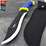 16'' FULL TANG SHARPENED BLUE MACHETE KNIFE + SHEATH Hunting Survival Fixed Blade + free eBook by Only US