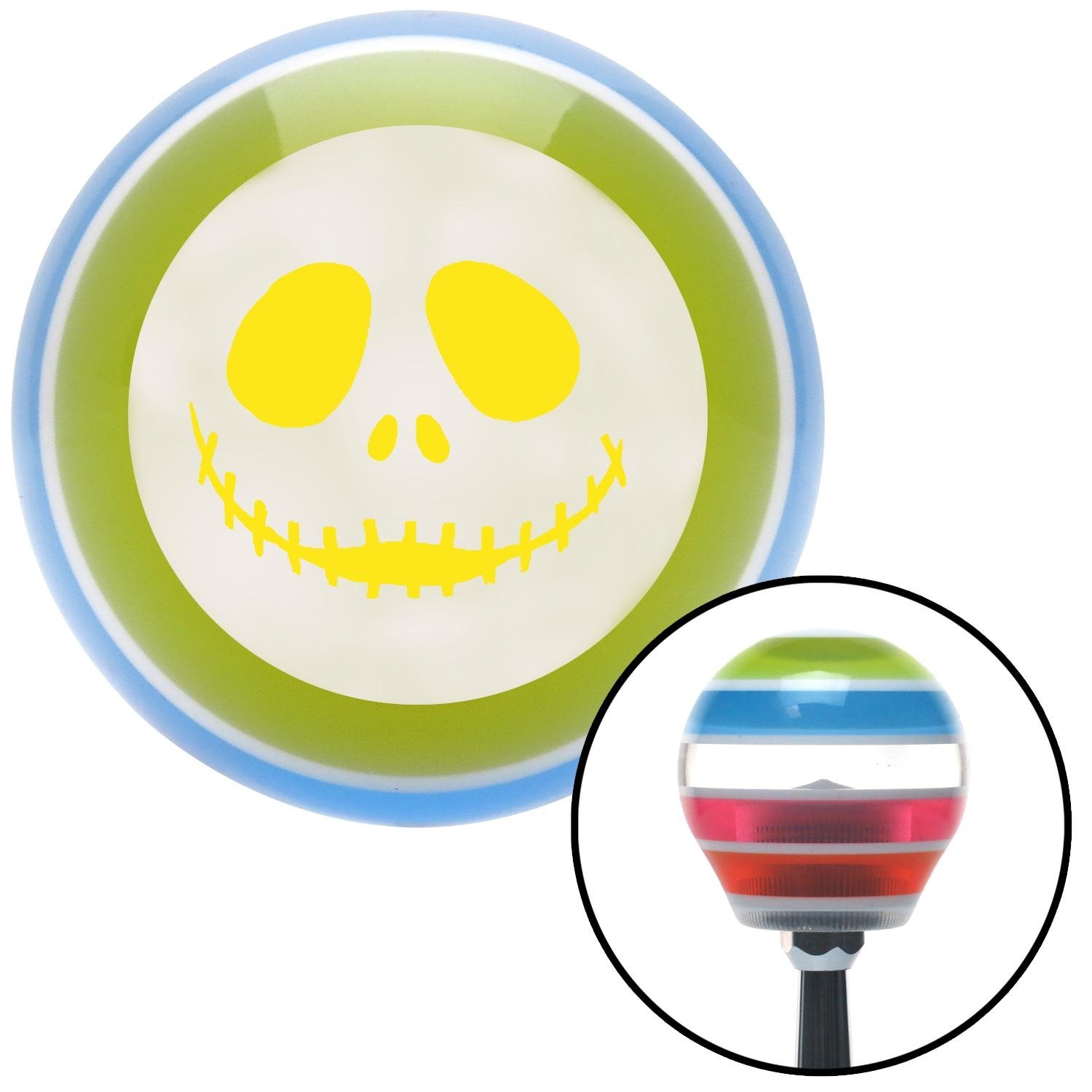Yellow Jack O Lantern Face American Shifter 135981 Stripe Shift Knob with M16 x 1.5 Insert