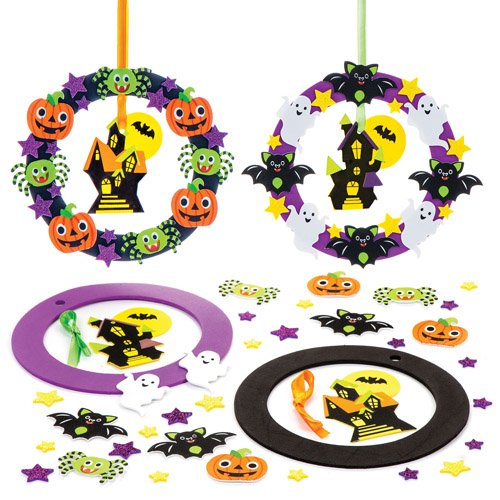 Baker Ross Halloween Wreath Kits for Kids Perfect for Halloween Children's Arts, Crafts and Decorating for Boys and Girls (Pack of 2) -