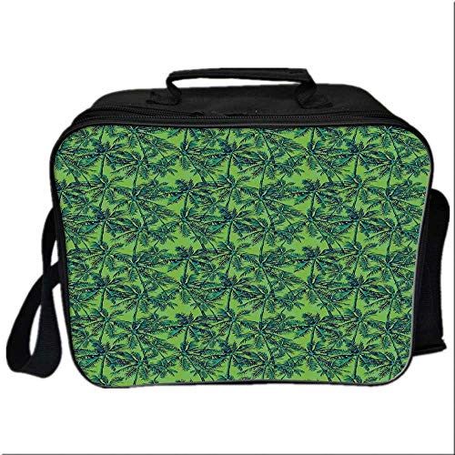 Green Picnic Bag Cooler Bag,Tropical Island Forest Theme with Palm Trees Exotic Hawaii Nature Jungle Decorative for Kids Boys Girls,10.6