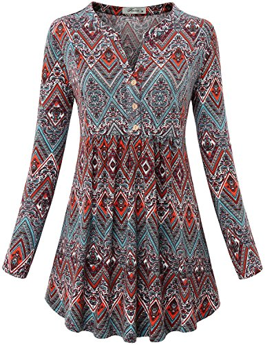Long Sleeve Henley Shirt, Womens Mandarin Banded Collar Full Sleeve Print Blouse Button up Swing Hem Cute Basic Knit Tunic Dress Tops Youth Novelty Clothes Geometric Red L