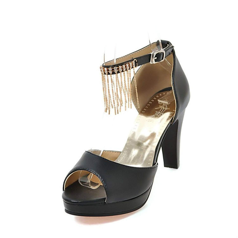 Womens Sandals New Thick Heel Sweet Princess Rhinestone Tassel Ms Sandals Plus Size 33-44 High Heels Womens Shoes