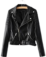 Yougao Women's Punk Long Sleeve PU Leather Coat Zip up Short Motocycle Jacket