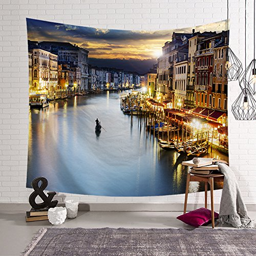 - OATHENE Night in Venice Tapestry,Wall Hanging for Bedroom/Living Room/Dorm, Polyester,60L x 51 W Inches (150cm x 130cm),935