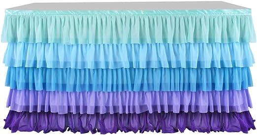 Falda de mesa de tul arcoíris, suave gasa tutú ropa de mesa ...