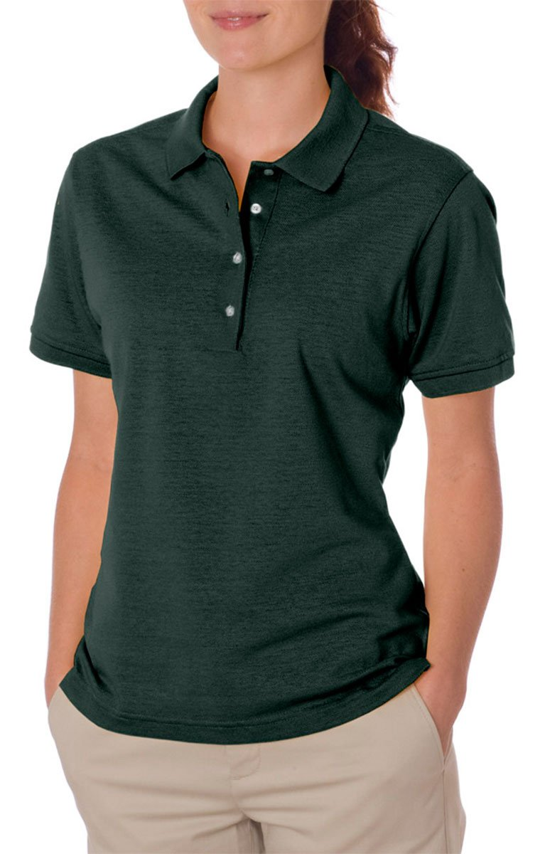 Jerzees womens 5.6 oz. 50/50 Jersey Polo with SpotShield(437W)-FOREST GREEN-L