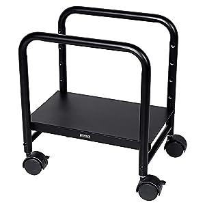 EUREKA ERGONOMIC Adjustable Height CPU Stand Computer Desktop CPU Steel Cart Rolling Stand Adjustable Mobile Cart Holder Locking Wheels Suitable for Standing Desk Converters - Black