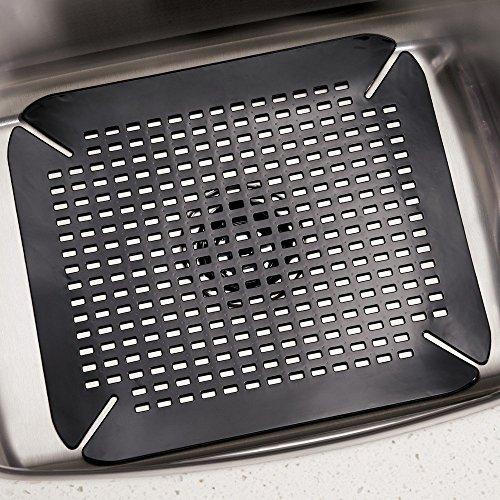 Interdesign Contour Kitchen Sink Protector Mat Black