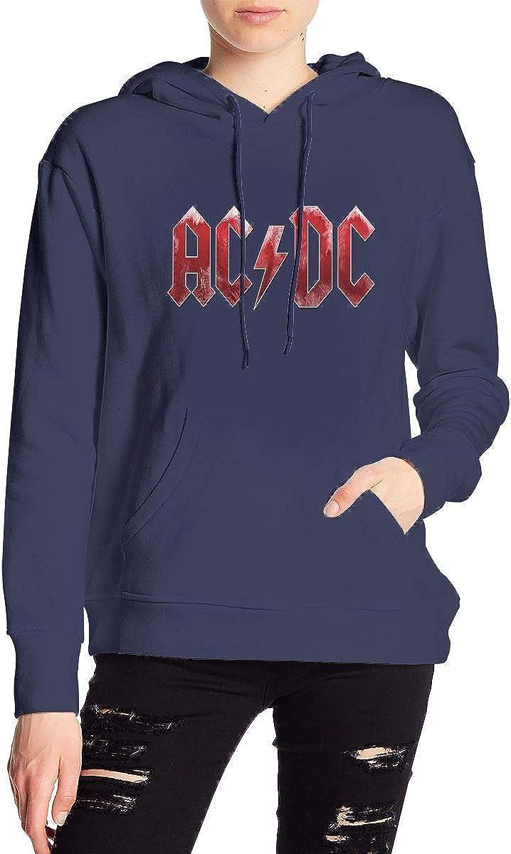 Vogue Site AC-DC Printed Womens Hoodies Sweatshirt Hood with Pockets Hooded Sweatshirt Medium Thickness