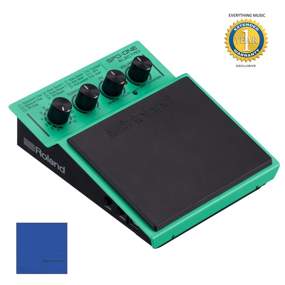Roland SPD::ONE ELECTRO Digital Percussion Pad with Microfiber and 1 Year Everything Music Extended Warranty by COR