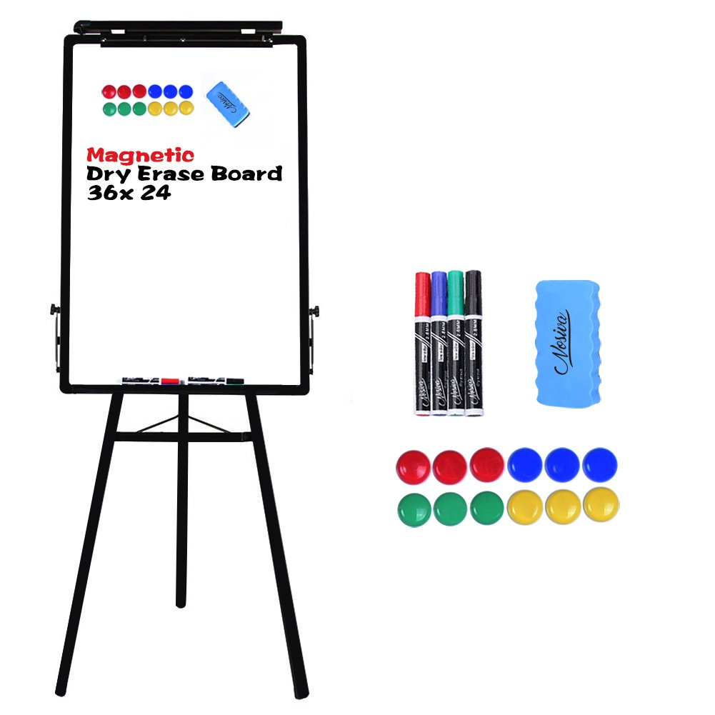 Nosiva Tripod Whiteboard - 24x36 Inches Magnetic Dry Erase Board/Flipchart Easel With Black Aluminum Frame, Lightweight White Boards, Height Adjustable Whiteboard