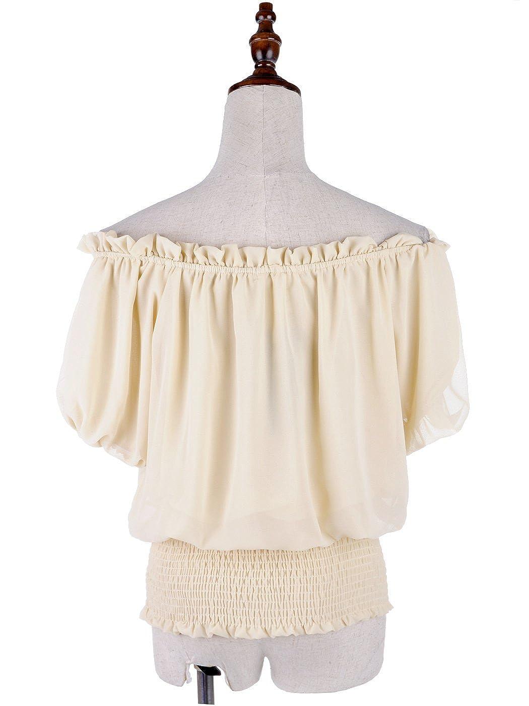 Anna-Kaci Camiseta de manga corta para volantes elástico Off hombro Boho blusa Top: Amazon.es: Ropa y accesorios