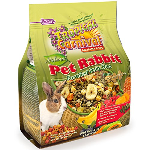 F.M. Brown'S Tropical Carnival Natural Rabbit Food, 4-Lb Bag - Vitamin-Nutrient Fortified Daily Diet With High Fiber Timothy Hay And Alfalfa Pellets For Optimum Digestion ()