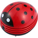 niceeshop(TM) Mini Aspirateur à Table Alimenté Par Batterie en Forme de Coccinelle Rouge