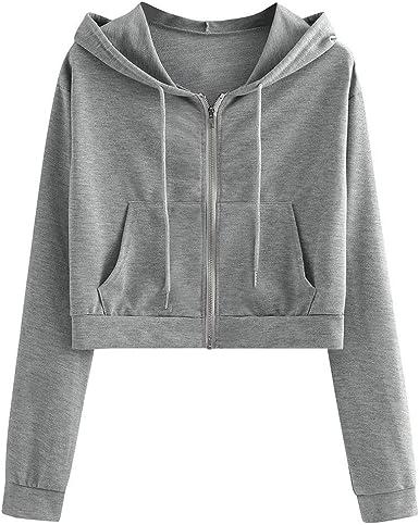 SweatyRocks Womens Long Sleeve Plaid Crop Top Drawstring Hoodie Pullover Sweatshirts