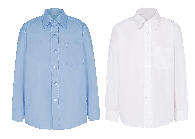CL Boys Long Sleeve School Shirt Easy Care Polycotton White & Sky Blue All SizesCL Boys Long Sleeve School Shirt Easy Care Polycotton White & Sky Blue