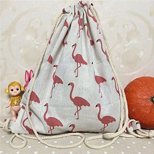 yilecotton lino cordón mochila de viaje zapatos gimnasio bolsa rojo Avestruz natural base B35