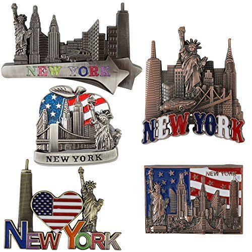 Bundle (5) Fridge Magnets new york Souvenir Empire State Building Skylines,Statue Of Liberty,Taxi (York Magnet New Refrigerator)