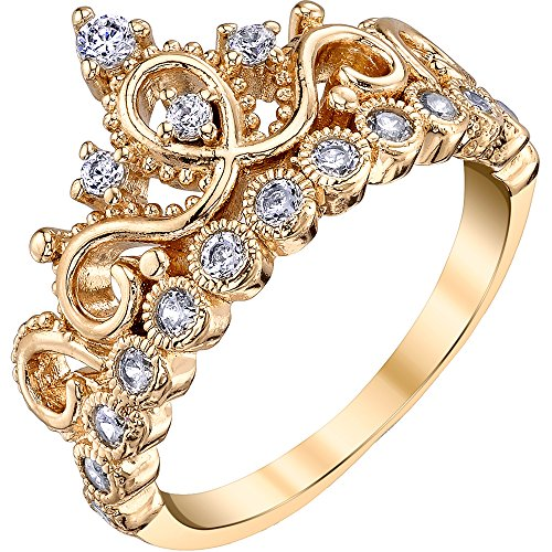 Guliette Verona Sterling Silver Princess Crown Ring (Yellow Gold Plated) -