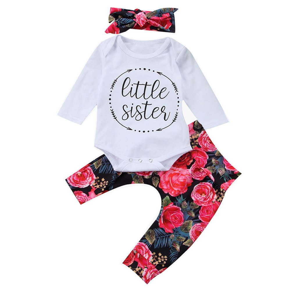 Scfcloth Newborn Baby Girl Little Sister Romper + Pants + Headband Outfit Sets
