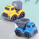 iPlay, iLearn Construction Vehicles Play Set, Dump Truck Toy, Cement Mixer, Push N Go Car Toys, Birthday Gift for 18…