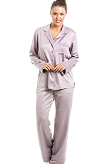 Camille Womens Luxurious Silver Full Length Satin Pyjama Set ... ade84ac66