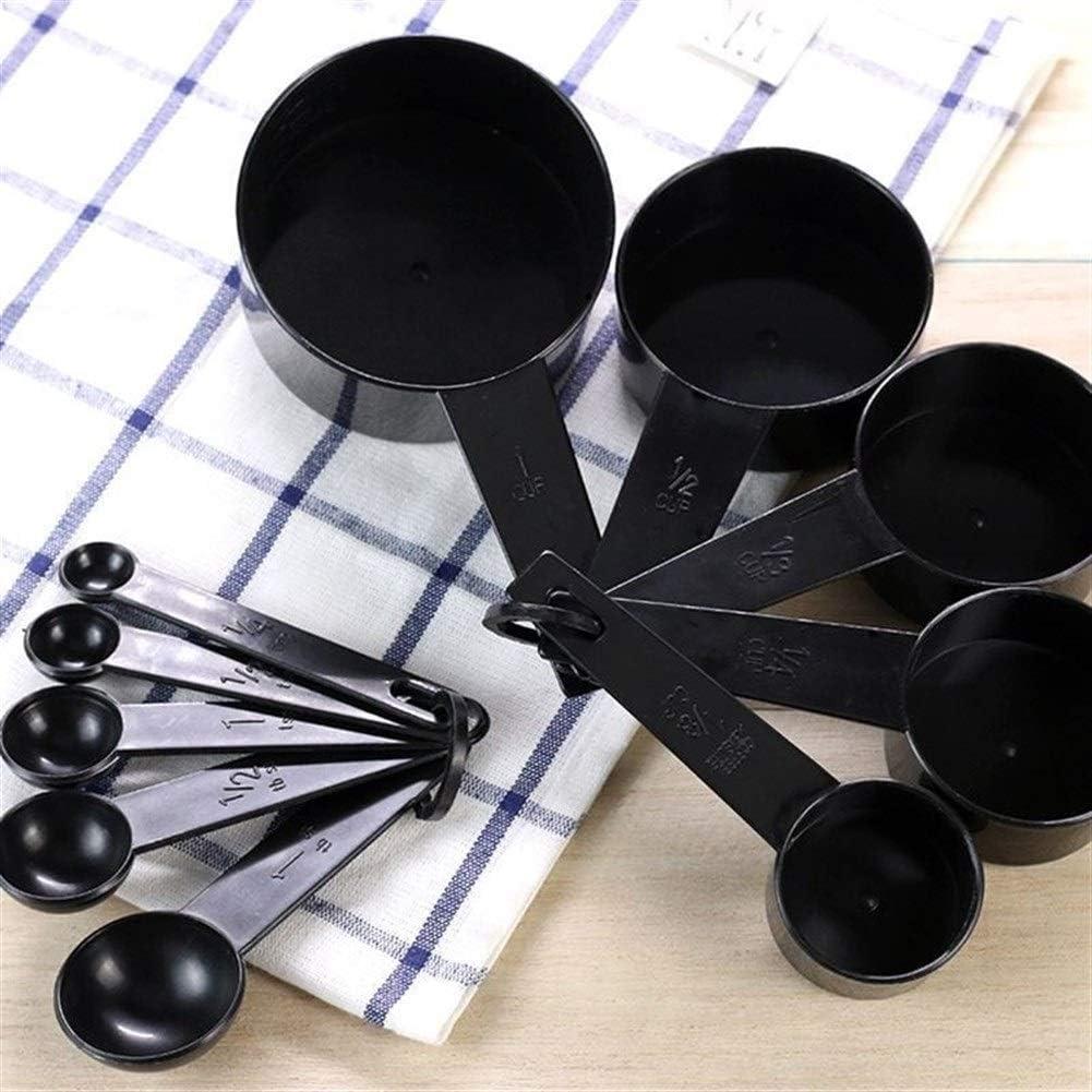 10pcs Schwarze Farbe Messbecher Und Messlöffel Schaufel Silikon Griff Küche Measuring (Color : Black) Black