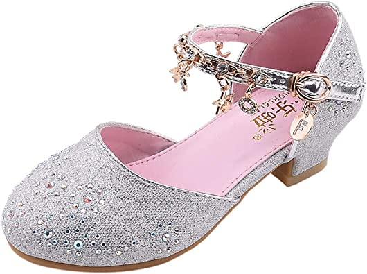 Zapatos Niña Princesa Talla 26 34 Lentejuelas Zapatos Tacon De Fiesta Sandalias De Vestir Amazon Es Zapatos Y Complementos