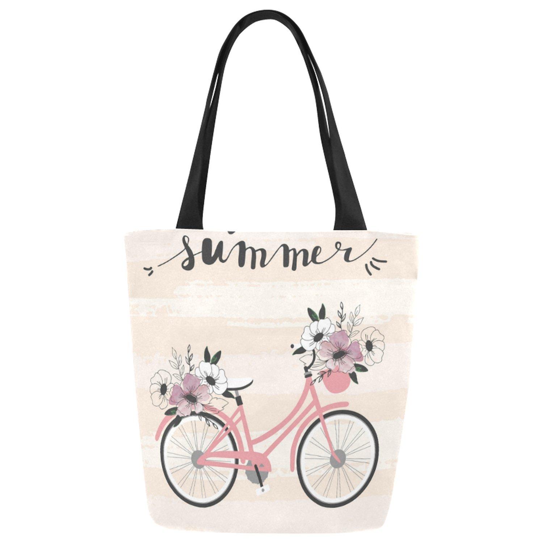 interestprint夏花柄自転車ピンクキャンバストートバッグショルダーバッグハンドバッグGrocery Bag for School、ショッピング、旅行 B077BGV17W
