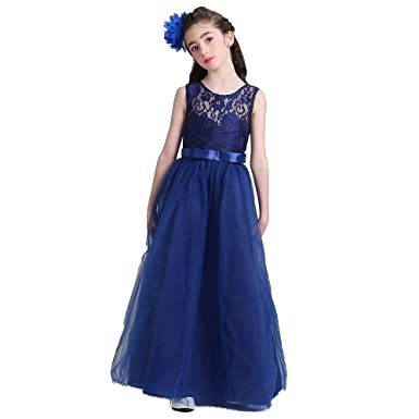 HYSENM Big Girls Crochet Bodice Long Lace Evening Party Dress Christmas Prom Gown, Blue,