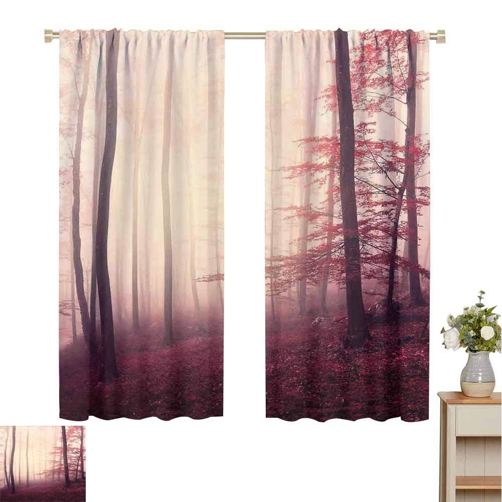 Woodland Decor Black Out Nursery Curtains for Kids Bedroom, Fantasy Marsala Color Foggy Forest Jungle Dreamy Wilderness Woods Sunlight Shabby Chic Drapes (72 x 72 Inch) by June Gissing