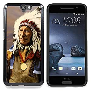 Queen Pattern - FOR HTC ONE A9 - Indian Native American Old Man Feathers - Cubierta del caso de impacto con el patr???¡¯???€????€?????n Art