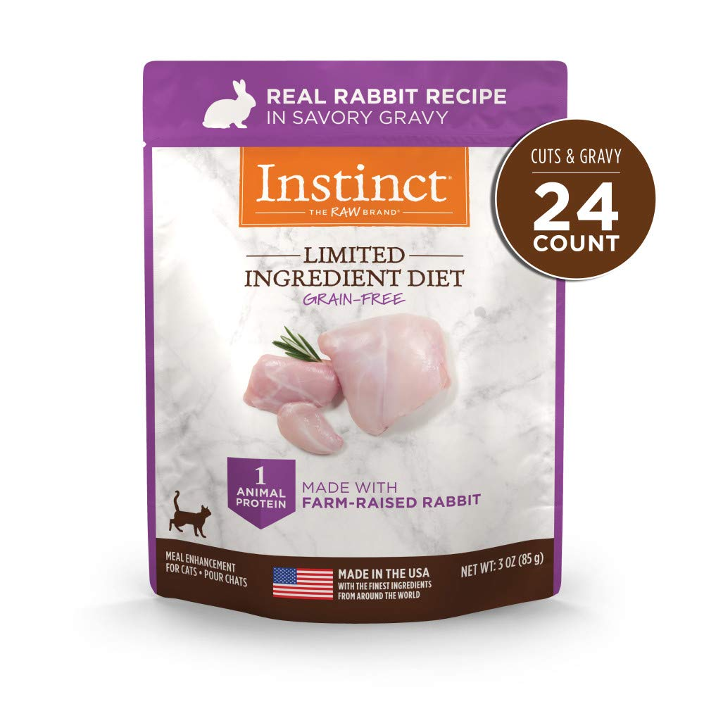 Instinct Limited Ingredient Diet Grain Free Real Rabbit Recipe Natural Wet Cat Food Topper by Nature's Variety, 3 oz. Pouches (Case of 24) by Instinct
