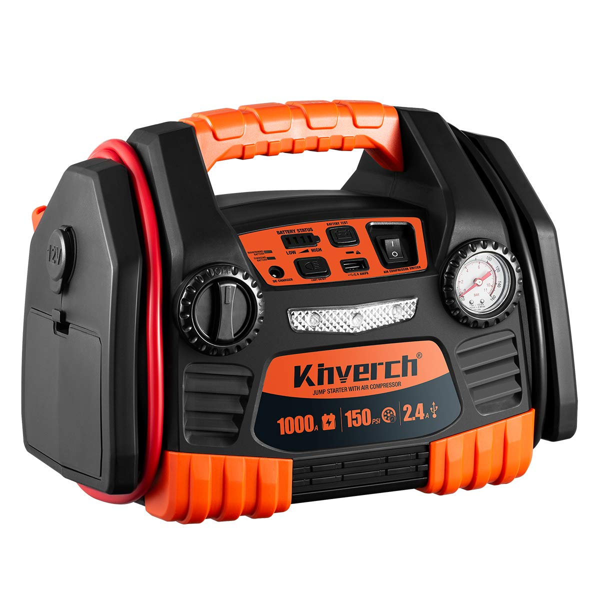 Kinverch Portable Car Jump Starter 1000 Peak Amp 12 Volt with 1-USB 1-12V Power Ports & 150 PSI Air Compressor
