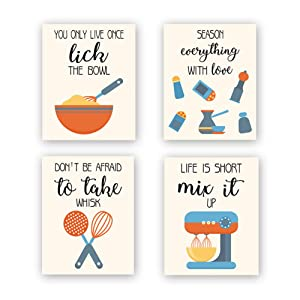 """CHDITB Unframed Funny Kitchen Wall Art Print, Colorful Inspirational Quotes Canvas Poster,Set of 4(8"""" x10"""" ) Farmhouse Style Painting,Cooking Artworks for Baking Room,Restaurant, Dining Room Decor"""