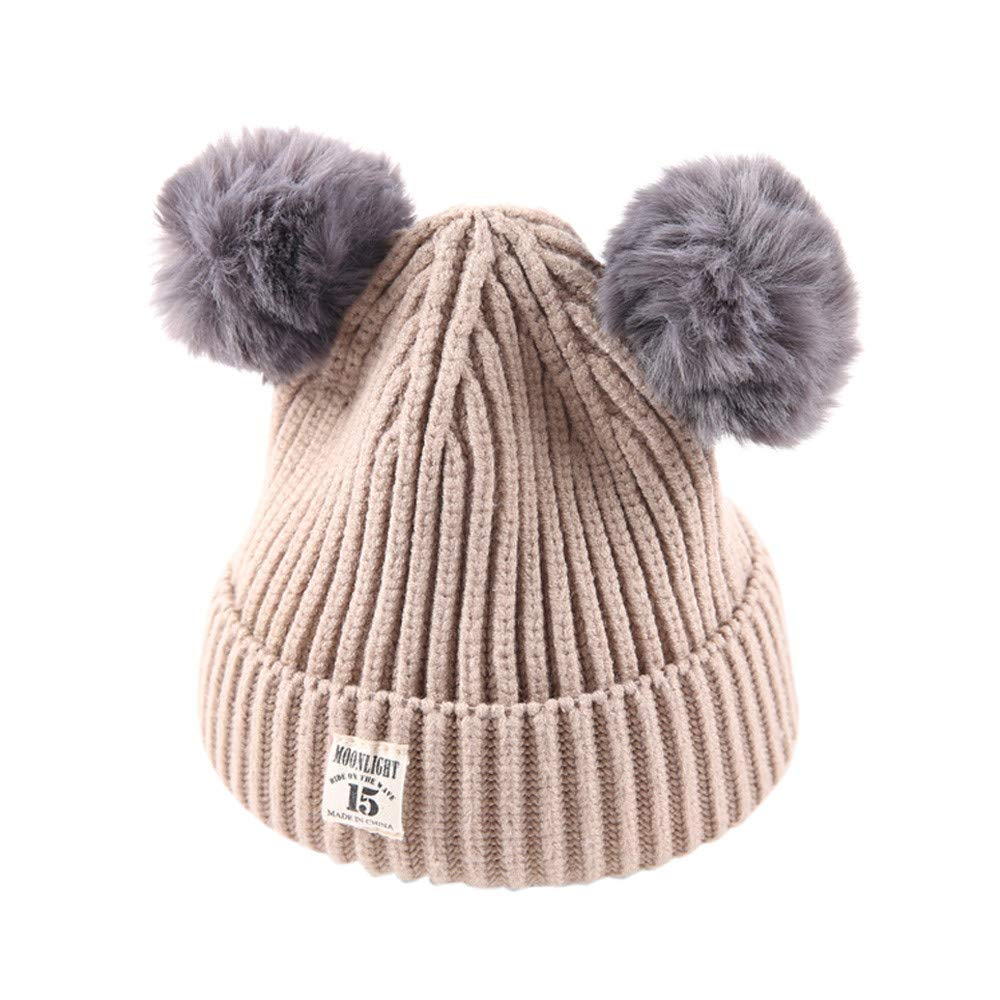 Xshuai Baby Hat for 2-8 Years Old Kids Fashion Newborn Infant Toddler Cute Winter Warmer Ball Cap Baby Girl Boy Letter Hats Knitted Wool Hemming Hat (Beige)