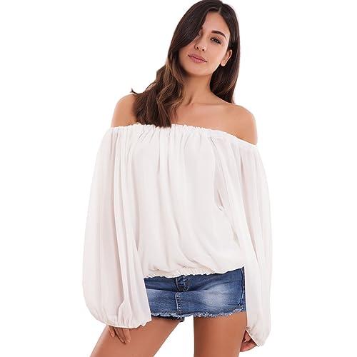 Toocool - Maglia donna maglietta ampia velata scollo carmen gitana elastico nuova WD-8137