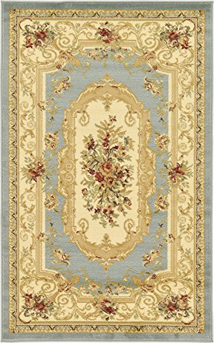 Unique Loom Versailles Collection Traditional Classic Light Blue Area Rug (5' 0 x 8' ()