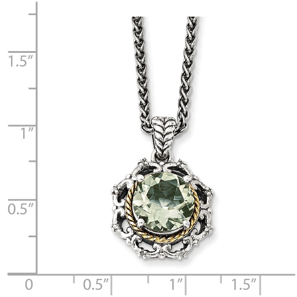 Sterling Silver W//14k Gold Gold Antiqued Green Natural Quartz And Natural Diamond Necklace