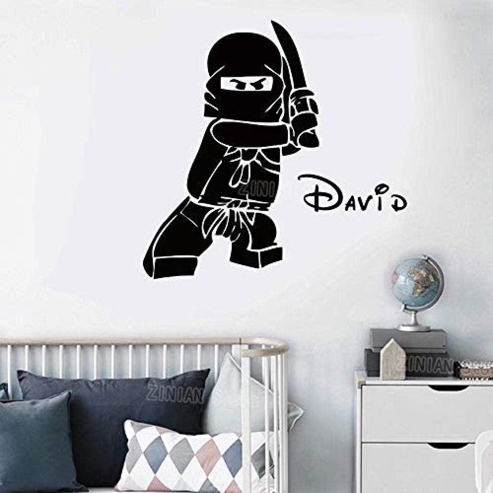 Nom personnalis/é Ninjago vinyle autocollant mural autocollant pour chambre de gar/çon enfants chambre Ninga enfants personnalis/é nom autocollants Z330 82X56cm @ 58X40 cm
