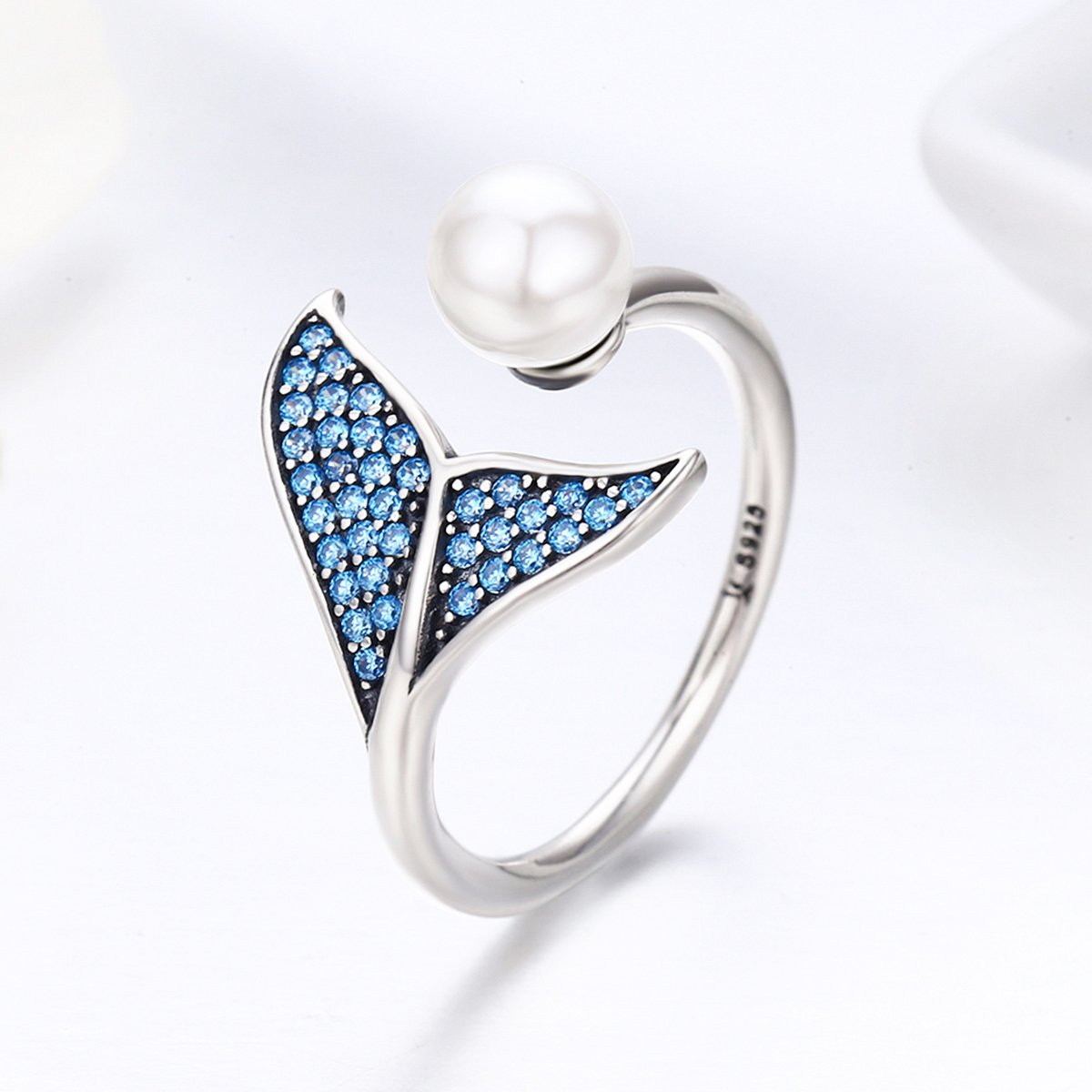 WOSTU Pearl Open Rings 925 Sterling Silver Wrap Around Twisted Rope Band Rings Adjustable Rings Size 6-9 CQR286+CP0024
