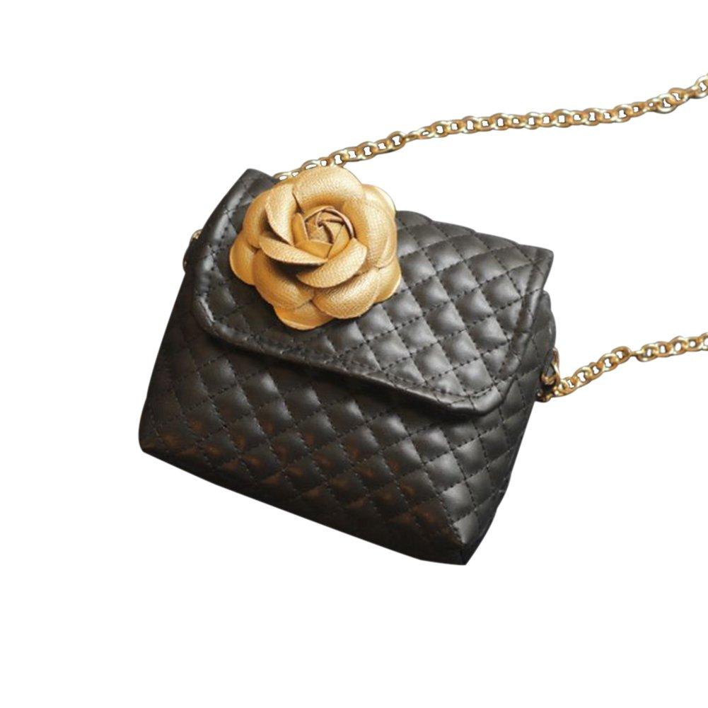 Milnut piccolo oro catena borsa a tracolla mini Crossbody bambini borsetta con design floreale bambini portamonete 12 x 13 x 3.5 cm, A, 12x13x3.5CM