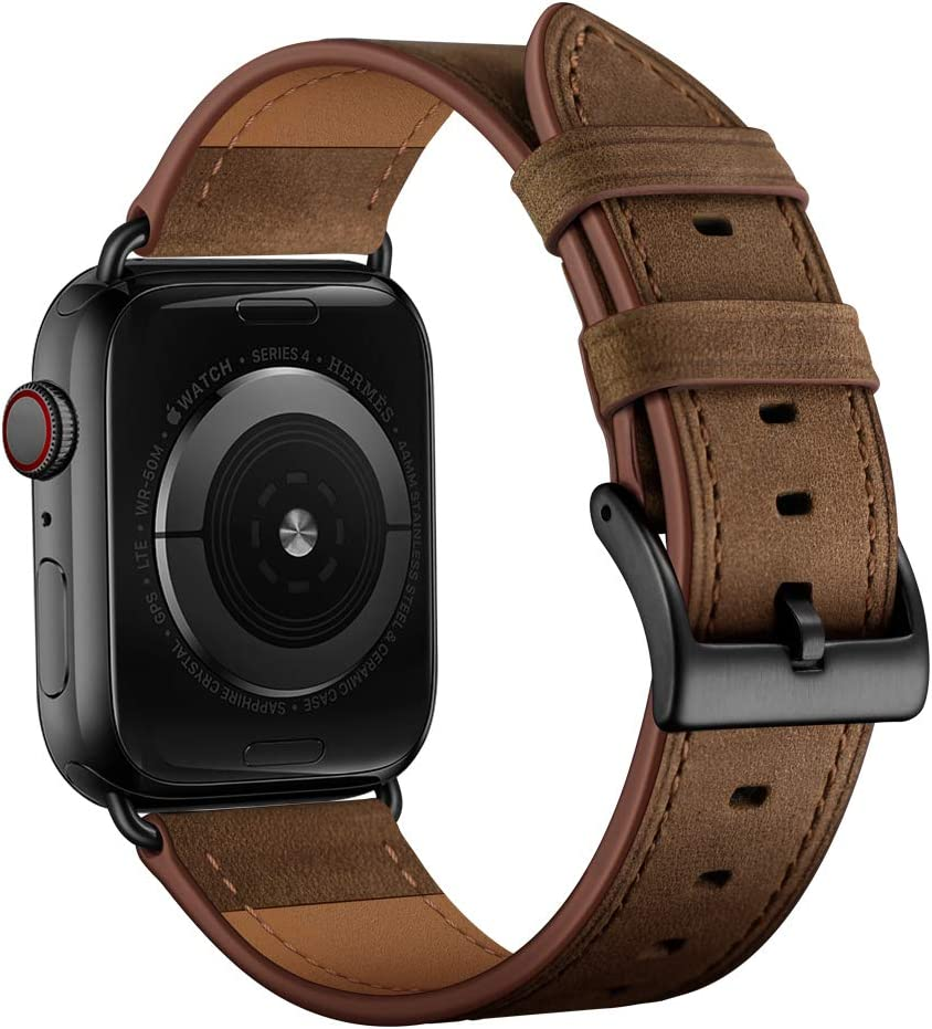 OUHENG Compatible with Apple Watch Band 40mm 38mm, Genuine Leather Band Replacement Strap Compatible with Apple Watch Series 6/5/4/3/2/1/SE, Retro Dark Brown Band with Black Adapter